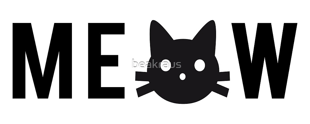 meow, text design, word art with black cat head by beakraus
