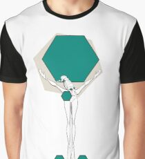 Paper doll with turquoise hexagons Graphic T-Shirt