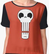 Long Skull Chiffon Top