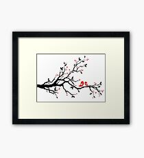 Kissing birds on love tree with red hearts Framed Print