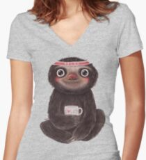 Sloth I♥lazy Women's Fitted V-Neck T-Shirt