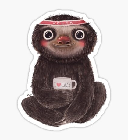 Sloth I♥lazy Sticker