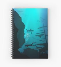 Coral reef with diver and fish Spiral Notebook