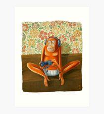 Monkey play Art Print