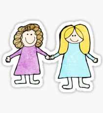 child's drawing fo two friends holding hands Sticker