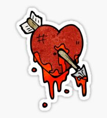 blood splattered heart cartoon Sticker