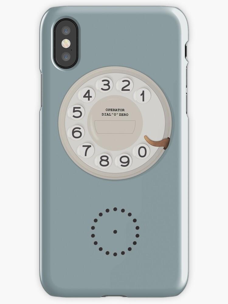 Vintage Dial Phone Blue by Spikkels