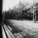 Traveling Fast By Train in Black and White by visualspectrum