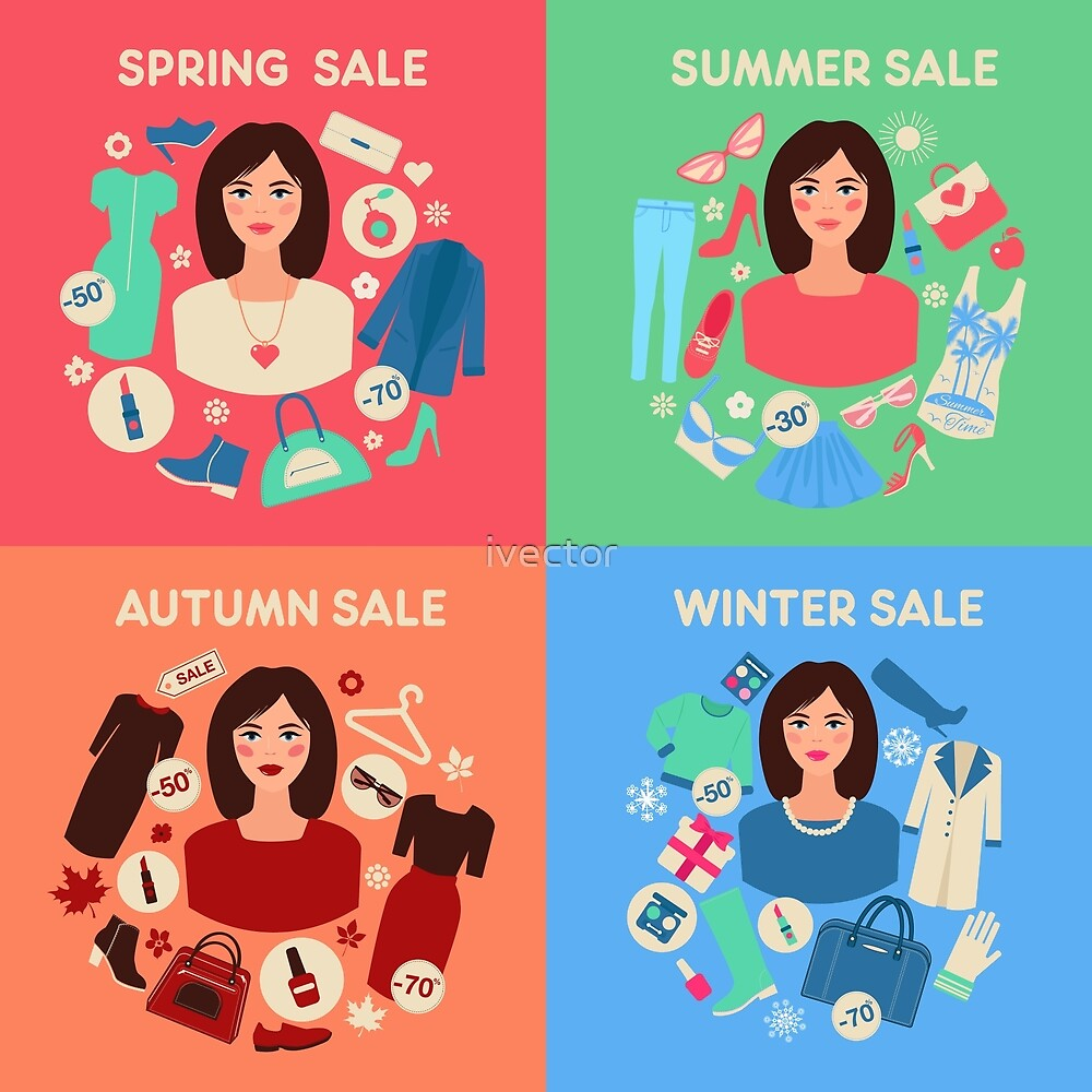 Shopping Seasonal Sale Set in Flat Design with Woman by ivector