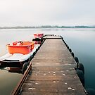 Two Pedal Boats Tied to Wooden Pier in Early Morning Light by visualspectrum