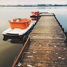 Two Paddleboats Tied to Wooden Pier in Early Morning Light by visualspectrum