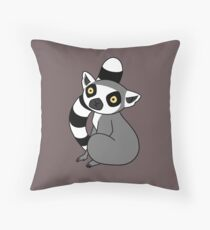 Ring Tailed Lemur Sitting Throw Pillow