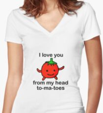 Tomato in love Women's Fitted V-Neck T-Shirt
