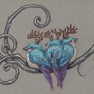 Three Antlered BlueBirds of Happiness by justteejay