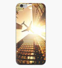 Vinilo o funda para iPhone avión en la ciudad de nueva york