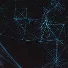 Abstract Blue Lines Resembling Star Constellation on Black Background by visualspectrum