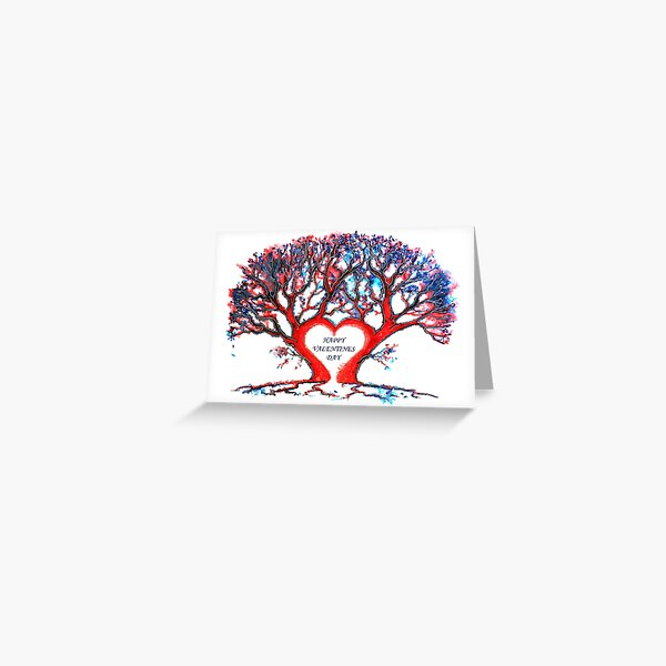 Valentines Loveheart Tree Greeting Card