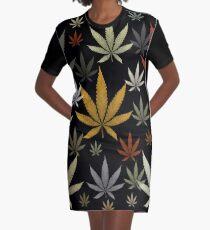Vestido camiseta Marihuana, marihuana, malezas, multicolor, negro, fondo