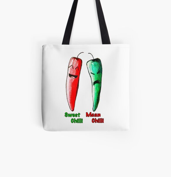 Sweet Chilli, Mean Chilli All Over Print Tote Bag