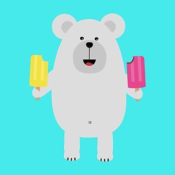 Polar Bear with icecream by ilovecotton