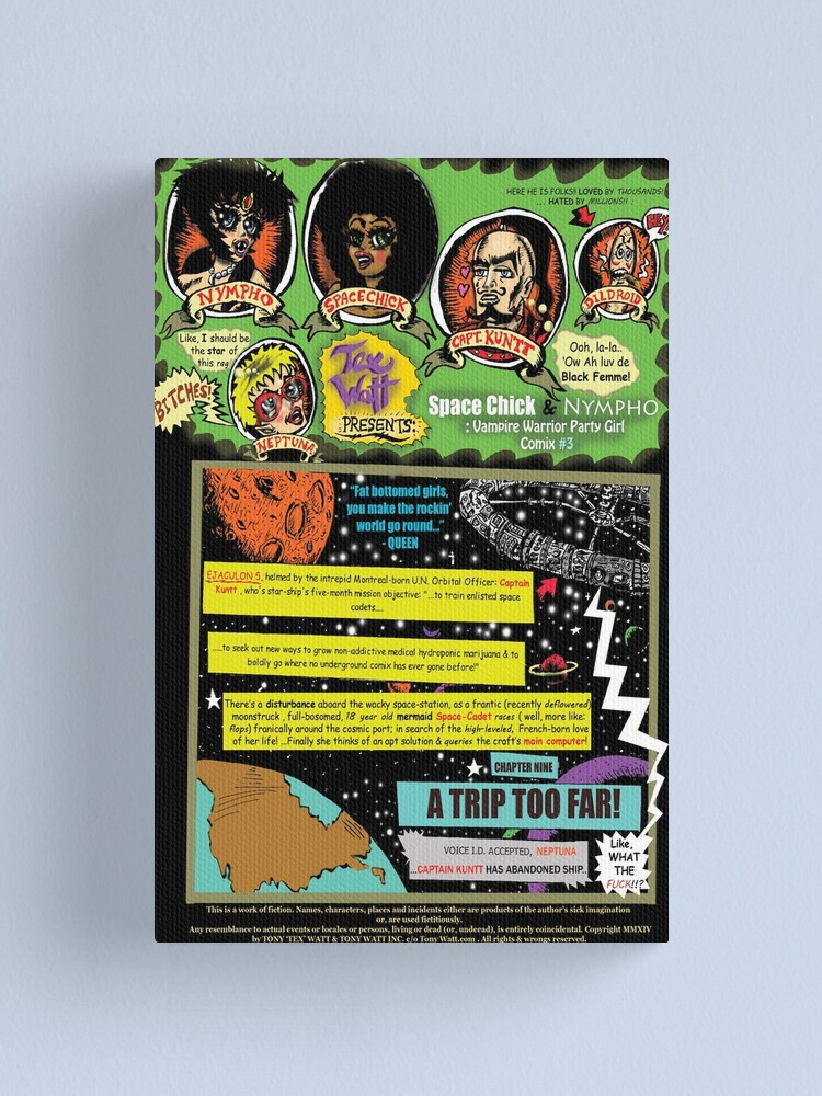 Alternate view of Page #1 of Tex Watt's  WEEKLY (UNCENSORED) SUNDAY COMIX POP-ART Canvas Print