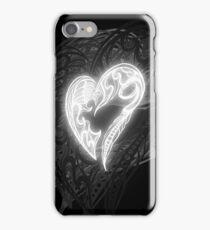 Zen Doodle Heart Black White Glow iPhone Case/Skin