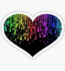 Heart Rainbow Splatter Drips Paint Valentine's Day Love Gift For Her Sticker