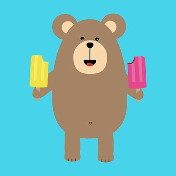 Brown Bear with Icecream by ilovecotton
