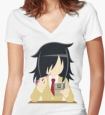 watamote Women's Fitted V-Neck T-Shirt