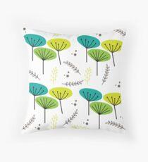 Mid Century Flowers Throw Pillow
