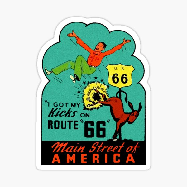 Route 66 Main Street of America Vintage Travel Decal Sticker