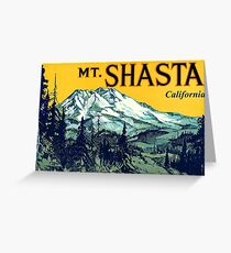 Mount Shasta California Vintage Travel Decal Greeting Card