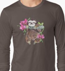 Happy Sloth with orchids Long Sleeve T-Shirt