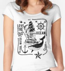 LOVE THE OCEAN Women's Fitted Scoop T-Shirt