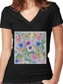Abstract floral sketch watercolor hand paint. Women's Fitted V-Neck T-Shirt