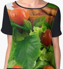 Cherry tomatoes, herbs, olive oil, eggs and bacon Women's Chiffon Top