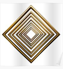 abstract rhombus gold pattern Poster