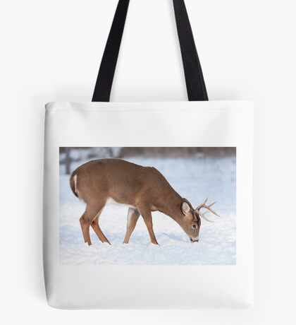 White-tailed deer buck in the winter snow Tote Bag