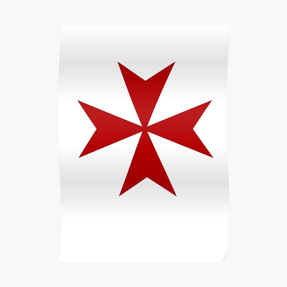 """TWO 2/"""" RED KNIGHTS TEMPLAR CROSS MALTA VINYL DECALS Medieval Crusader Maltese"""