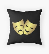 Theater masks: happy and sad faces Throw Pillow