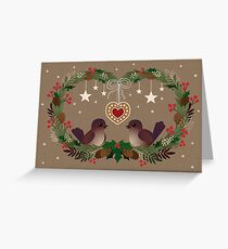 Two Birds on a Christmas Wreath Greeting Card