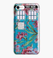 Floral Tardis 1 iPhone Case/Skin