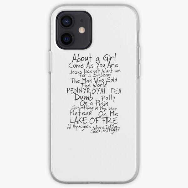 Nirvana Unplugged Set List [BLACK TEXT] iPhone Soft Case