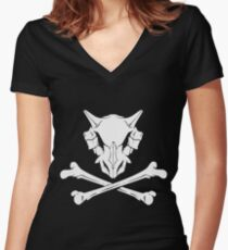 Cubone Skullhead Women's Fitted V-Neck T-Shirt