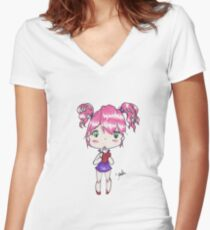 Holding My Heart - Anime style chibi girl Women's Fitted V-Neck T-Shirt