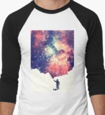 Painting the universe (Colorful Negative Space Art) Baseball ¾ Sleeve T-Shirt