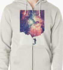Sudadera con capucha y cremallera Pintar el universo (arte espacial colorido y negativo)
