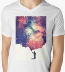 Painting the universe (Colorful Negative Space Art) V-Neck T-Shirt