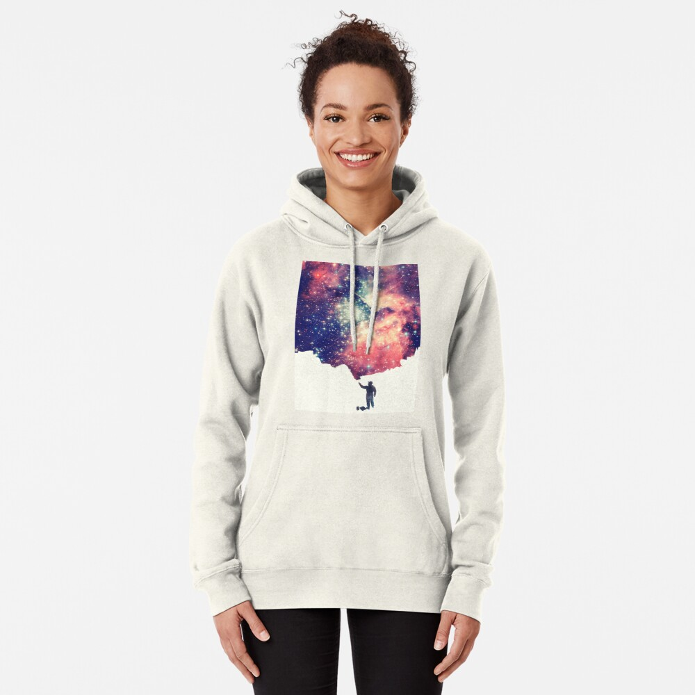 Painting the universe (Colorful Negative Space Art) Pullover Hoodie