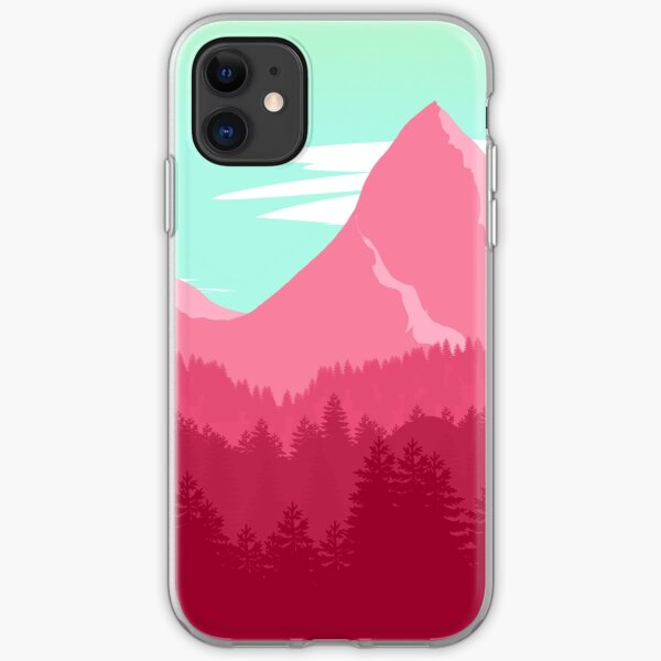 Pink mountain view iPhone Soft Case